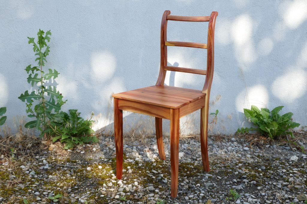 Stuhl, Holzstuhl, Zwetschgenholz